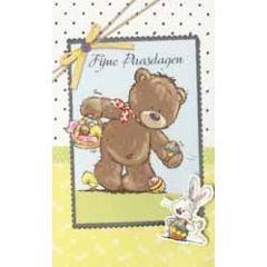 paaskaart - fijne paasdagen - beer en paashaas