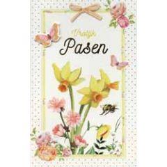 paaskaart - vrolijk pasen - narcissen