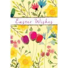 paaskaart - easter wishes - bloemen