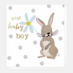 wenskaart caroline gardner - new baby boy - konijn