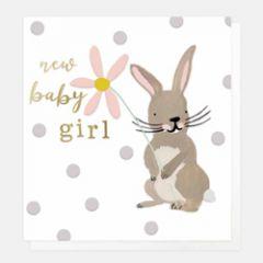 wenskaart caroline gardner - new baby girl - konijn