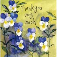 bedankkaart alex clark - thank you very much - viooltjes