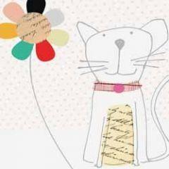 wenskaart caroline gardner - kat met bloem