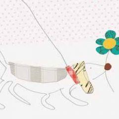wenskaart caroline gardner - hond teckel met bloem