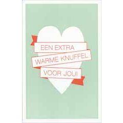 letterpress ansichtkaart met envelop - een extra warme knuffel voor jou!