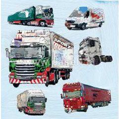 wenskaart - vrachtwagens