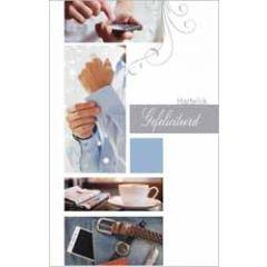 felicitatiekaart - hartelijk gefeliciteerd - mobiel, overhemd, koffie, horloge