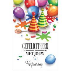 verjaardagskaart met draaischijf - gefeliciteerd met jouw 1 -13e verjaardag