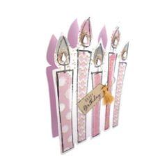 3d wenskaart paper dazzle - happy birthday - kaarsjes