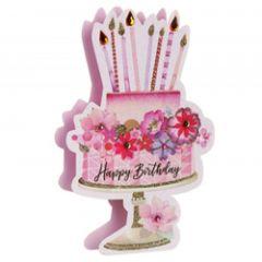 3d wenskaart paper dazzle - happy birthday - taart
