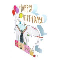 3d wenskaart paper dazzle - happy birthday - olifant