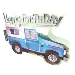 3d wenskaart paper dazzle - happy birthday - terreinwagen