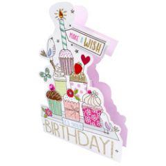3d wenskaart paper dazzle - it's your birthday - cupcakes