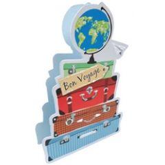 3d afscheidskaart paper dazzle - bon voyage -koffers