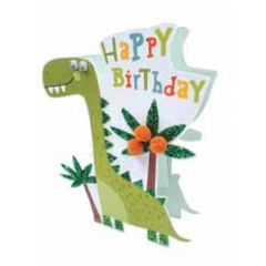 3d verjaardagskaart paper dazzle - happy birthday - dinosaurus