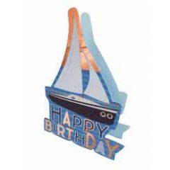 3d verjaardagskaart paper dazzle - happy birthday - zeilboot