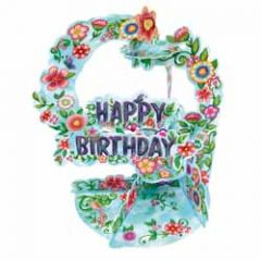3d verjaardagskaart - pendulum - happy birthday - bloemen