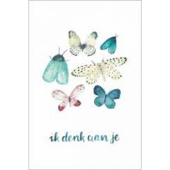 wenskaart dreams - ik denk aan je - vlinders
