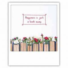 ansichtkaart instagram pickmotion - happiness is just a book away - boeken met bloemen