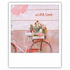 ansichtkaart instagram pickmotion - with love - bloemen op fiets