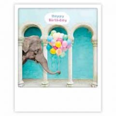 ansichtkaart instagram pickmotion - happy birthday - olifant met ballonnen