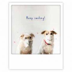 ansichtkaart instagram pickmotion - keep smiling - honden met mondkapjes