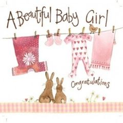 geboortekaart alex clark - a beautiful baby girl congratulations - konijntjes