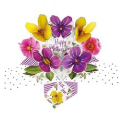 3D moederdagkaart - pop ups - happy mother's day - viooltjes