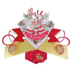 3D kerstkaart - pop ups - with love at christmas time