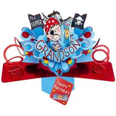 3D verjaardagskaart - pop ups - to a super grandson - piraat