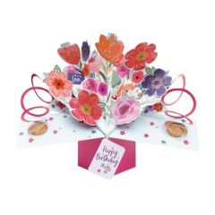 3D verjaardagskaart - pop ups - with love happy birthday - bloemen