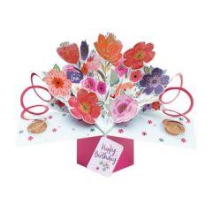 3D verjaardagskaart - pop ups - with love happy birthday - bloemen