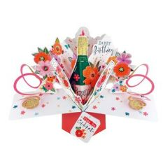 3D verjaardagskaart - pop ups - happy birthday time to celebrate - prosecco