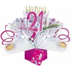 21 jaar - 3D verjaardagskaart - pop ups - happy 21st birthday - bloemen
