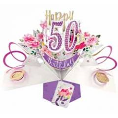 50 jaar - 3D verjaardagskaart - pop ups - happy 50th birthday - bloemen