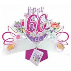 60 jaar - 3D verjaardagskaart - pop ups - happy 60th birthday - bloemen