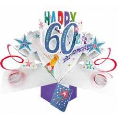 60 jaar - 3D verjaardagskaart - pop ups - happy 60th birthday - blauw