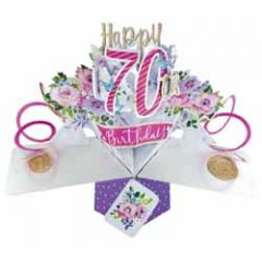 70 jaar - 3D verjaardagskaart - pop ups - happy 70th birthday - bloemen