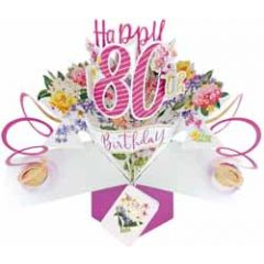 80 jaar - 3D verjaardagskaart - pop ups - happy 80th birthday - bloemen