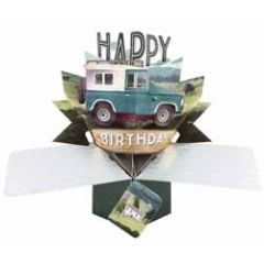 3D verjaardagskaart - pop ups - happy birthday - jeep auto
