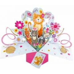 3D verjaardagskaart - pop ups - happy birthday - katten