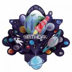 3D verjaardagskaart - pop ups - out of this world birthday - planeten