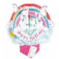 3D verjaardagskaart - pop ups - happy birthday - regenboog eenhoorns
