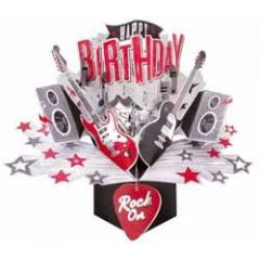 3D verjaardagskaart - pop ups - happy birthday rock on - gitaar