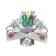 80 jaar - 3D kaart - pop ups - happy 80th birthday