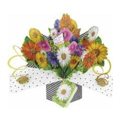 3D verjaardagskaart - pop ups - for you on your birthday - bloemen