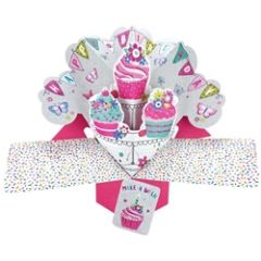 3D verjaardagskaart - pop ups - happy birthday - cupcakes