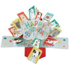 3D verjaardagskaart - pop ups - happy birthday - honden