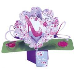 3D verjaardagskaart - pop ups - birthday girl for you - schoen