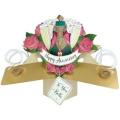 ...jaar getrouwd - 3D wenskaart - pop ups - happy anniversary to you both - rozen en champagne